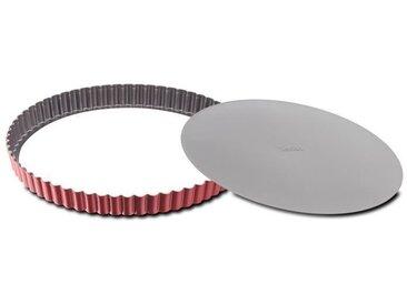 TEFAL Moule à tarte Delibake en acier - Ø 28 cm - Rouge et gris - Fond amovible