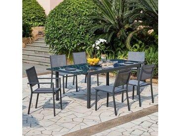 Ensemble repas de jardin 6 à 8 personnes - Table aluminium extensible 180-240 cm + 6 chaises aluminium et assise textilène - Gris