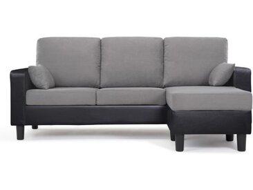 804e54e7ec954 BERLIN Canapé d'angle réversible 3 places - Simili noir et tissu gris  anthracite -