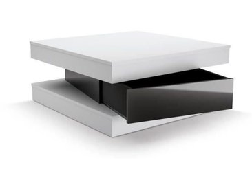 FIXY Table basse carrée style contemporain blanc et noir brillant - L 80 x l 80 cm
