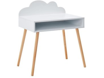 NUAGE Bureau droit enfant scandinave blanc laqué mat + pieds en bois pin massif - L 70 cm