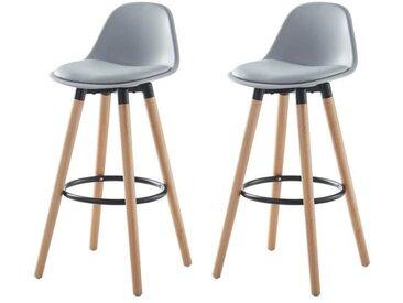 BRIT Lot de 2 tabourets de bar - Simili gris - Pieds en bois hêtre massif - Style scandinave - L 39,5 x P 44 cm