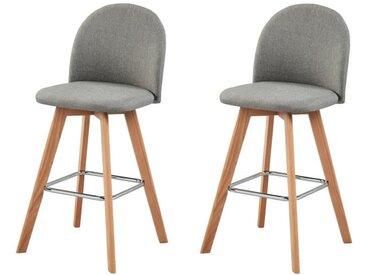 ELIAS Lot de 2 tabourets de bar en bois hêtre massif - Revêtement tissu gris - Scandinave - L 41 x P 38 cm