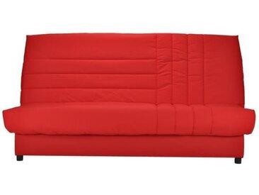 Banquette clic-clac 3 places matelas Bultex - Tissu rouge - L 192 x P 95 cm - BEIJA
