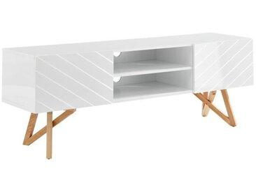 Meuble TV scandinave blanc laqué brillant - L 160 cm - LULEA
