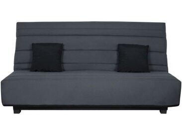 Banquette Clic clac Dunlopillo - Tissu Gris + 2 coussins Noir - L 194 x P 98 x H 102 cm - ALEX