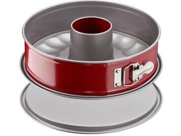 TEFAL Moule à savarin Delibake en acier - Ø 25 cm - Rouge et gris - Avec charnière