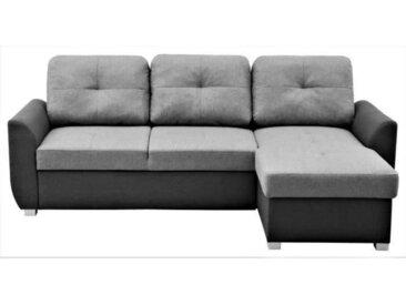 Canapé d'angle convertible réversible + coffre - Tissu Anthracite et gris - L 223 x H 88 x P 148 cm - FOLK