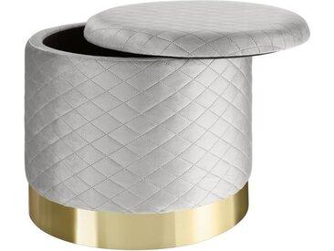 TECTAKE Pouf Coffre de rangement rond en Velours 51 cm x 44,5 cm, 300 kg poids supporté - Gris clair