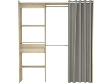 CHICAGO Kit dressing extensible contemporain décor chêne kronberg - L 114 / 168 cm