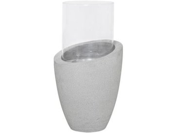 HOMEA Photophore déco esprit béton H38,5 cm gris clair
