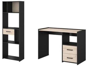 FELIX Ensemble Bureau et bibliothèque - Décor noir et chêne jackson - L 113,5 x P 78,5 x H 50 cm