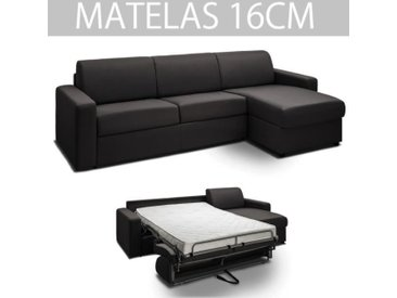 Canapé d'angle convertible rapido MIDNIGHT gris graphite couchage 140 cm gris tissu Inside75