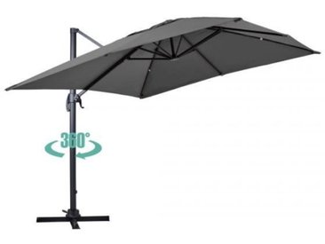 Parasol déporté rotatif, structure en aluminium, 4x3m modèle Caserta Gris