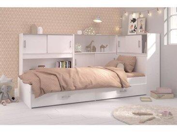 SCOOP Lit Enfant avec 3 meubles de rangement contemporain décor blanc - l 90 x L 200 cm