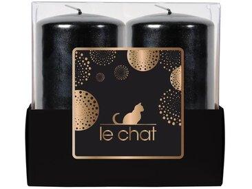 LE CHAT Barquette de 2 bougies de Noël - Tête plate - Ø 4,8 x H 9 cm - Noir métallisé