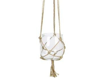 Suspension Boule en verre à suspendre - Avec corde en chanvre - Ø 15 cm - Blanc transparent