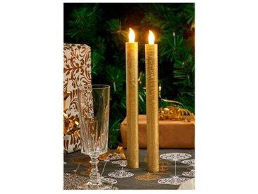 Set de 2 bougies longues de Noël LED en cire - Ø 2 x H 26,5 cm - Or
