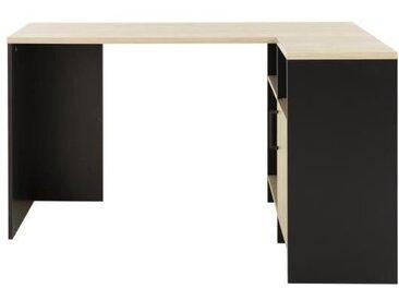 CARDIF Bureau d'angle - Décor chêne et noir -  L 88 x P 136 x H 76 cm