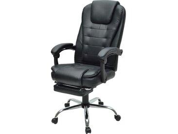 MACK Chaise de bureau - Simili noir - Style industriel - L 61 x P 54 cm