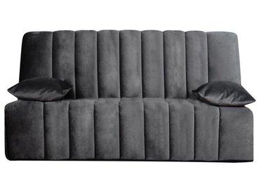 OPS 100% FRANCAIS - RONDA Banquette Clic clac - Velours gris - Couchage quotidien - L190 x P95 x H98 cm