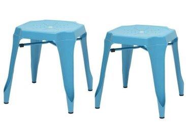 KRAFT Amy Lot de 2 tabourets en métal bleu satiné - Industriel - L 42 x P 42 cm - Assise H 44cm