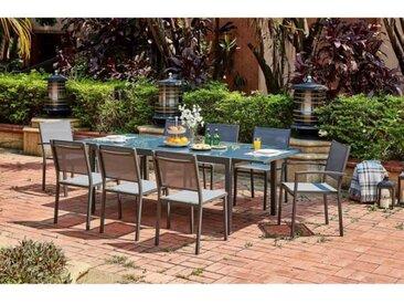 Ensemble repas de jardin 6 à 8 personnes Alu.- Table extensible 180/240x100cm + 6 chaises et 2 fauteuils et assise textilène -  Gris