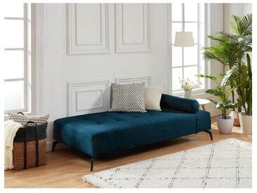 SHADOW Méridienne DAYBED 3 places - Tissu bleu foncé - Style contemporain - L190 x P 90 cm