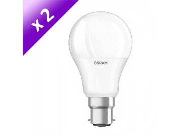 OSRAM Lot de 2 Ampoules LED B22 9 W équivalent à 60 W blanc chaud dimmable variateur