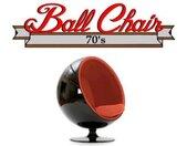 Fauteuil boule, Ball chair coque noir / intérieur feutrine orange. Design 70's. orange Velours Inside75