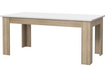 PILVI Table à manger - Blanc et chêne sonoma - L 180 x I90 x H 75 cm