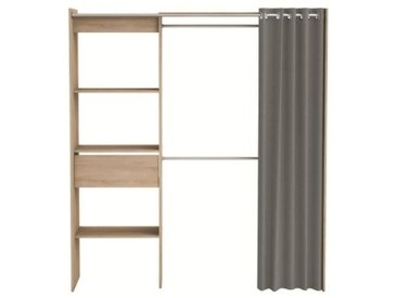 CHICAGO Kit dressing extensible contemporain décor chêne brossé - L 114 -168 cm