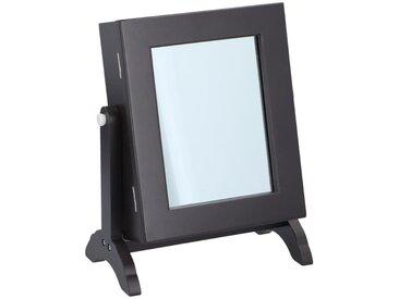 Boîte à bijoux avec miroir inclinable - 21 x 12 x H.25,5 cm - Bois - Noir