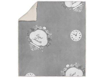 SOLEIL D' OCRE Plaid polaire sherpa microfibre Esprit de Famille - 110 x 160 cm - Gris
