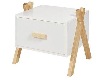 AMAROK Chevet enfant - Pin massif et MDF - Blanc/naturel - Style scandinave - L 46 cm