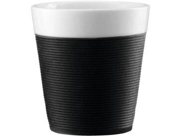BODUM BISTRO Set 2 mugs en porcelaine avec bande silicone 0,17L noir et blanc