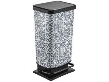 Poubelle de cuisine à pédale Paso - 40 L - Motif : Carreaux de ciment - Blanc et gris