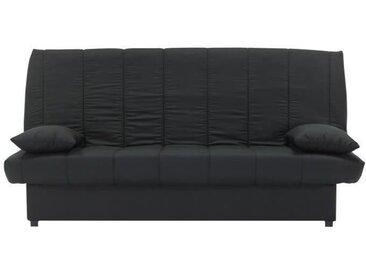 MILA Banquette clic clac 3 places - Tissu noir - Slyle contemporain - L 190 x P92 cm
