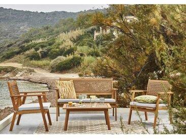 BOCARNEA Salon de jardin LIANZA en acacia FSC et résine - 4 places - 50 x 80 x 37 cm
