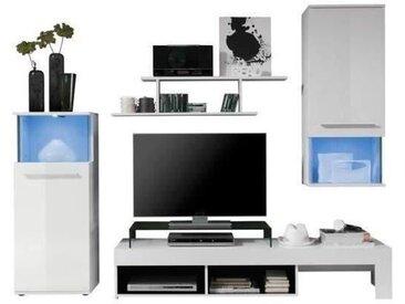 PUNCH Meuble TV mural avec LED contemporain blanc mat et brillant - L 228 cm