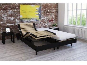 Ensemble relaxation TALCA matelas + sommiers électriques décor wengé 2x80x200 - Mousse - 14 cm - Ferme