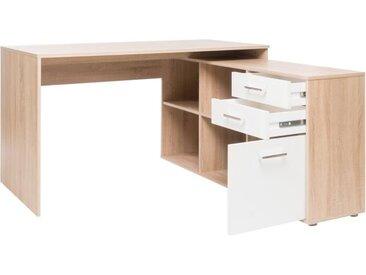 LONDON Bureau d'angle classique décor chêne sonoma et blanc brillant - L 136 cm