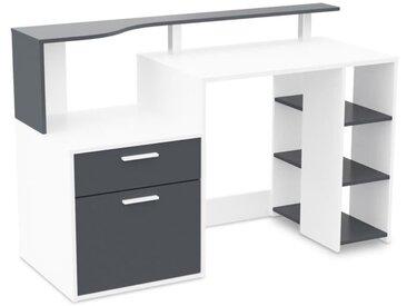 ORACLE Bureau classique en bois aggloméré blanc et gris - L 140 cm