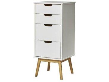 HAVANA Chiffonier 4 tiroirs- Décor chêne et Blanc - L 40 x P 40 x H 94 cm
