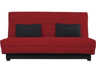 Banquette Clic clac Simmons- Tissu Rouge + 2 coussins Noir - L 194 x P 98 x H 100 cm - VANDA
