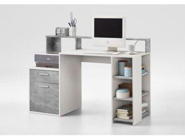 BOLTON Bureau contemporain blanc et gris effet béton - L 138,5 cm