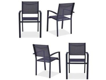 Lot de 4 fauteuils de jardin en aluminium assise textilène - 57 x 56 x 87 cm - Gris