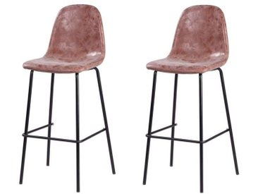 VINTI Lot de 2 tabourets de bar - Simili marron - Industriel - L 39,5 x P 47,5 cm
