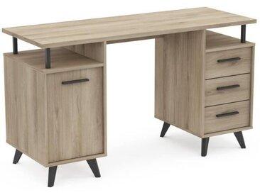 JACKSON Bureau 1 porte 3 tiroir - Décor Chêne Kronberg - L 134,8 x H 77 x P 50,1 cm