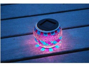 Lanterne solaire décorative, verre effet mosaïque
